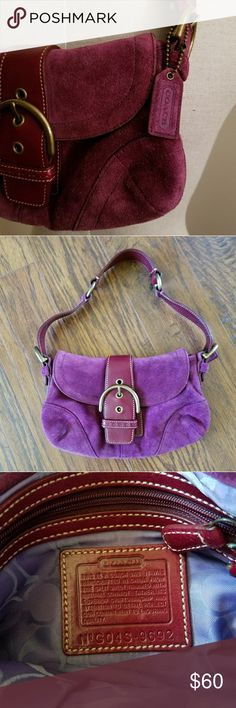 EUC Authentic COACH Purple Suede Hand Bag Pre - loved but Excellent condition!  Authentic Coach, Purple Suede Inside doesn't even look used!  Well cared for!  My lighting doesn't do the purse justice! Please ask any question u may have!  Bundle and Save  Please chk out my other listings  Thank you Please Follow Coach Bags Mini Bags