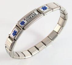 Amazon.com: Kidney Disease Medical ID Alert Bracelet Italian Charm: Jewelry