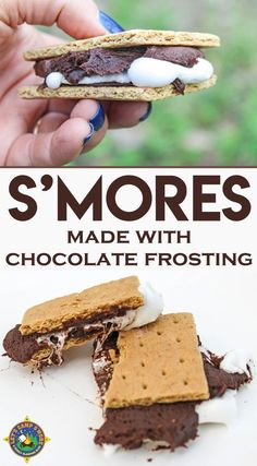 Frosting S'mores made with a Can of Chocolate Frosting Recipe - Don't like it when your chocolate bar doesn't melt? Create frosting s'mores with a can of chocolate frosting that makes a perfect s'more every time! Desserts For A Crowd, Best Dessert Recipes, Sweet Desserts, Cupcake Recipes, Easy Desserts, Delicious Desserts, Yummy Food, Marshmallow Recipes, Special Recipes
