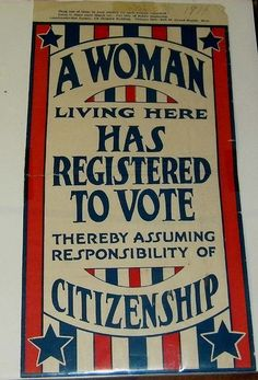 Women's suffrage flyer; the small print at the top reads 'Hang one of these in your window for each woman registered - Leave it there until March 1st - Cut this off before Displaying - Americanization Society, 318 Shepard Building - Citizens 8315 - Bell 40 - Grand Rapids,  Mich. - February, 1919