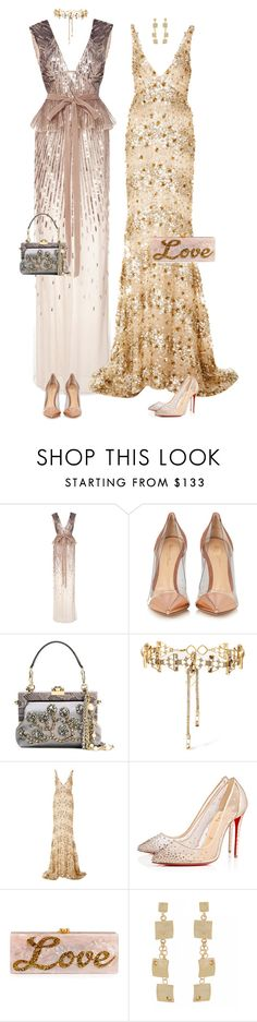 """Sisters love"" by xoxomuty on Polyvore featuring Monique Lhuillier, Gianvito Rossi, Dolce&Gabbana, Erickson Beamon, Naeem Khan, Christian Louboutin and Edie Parker"