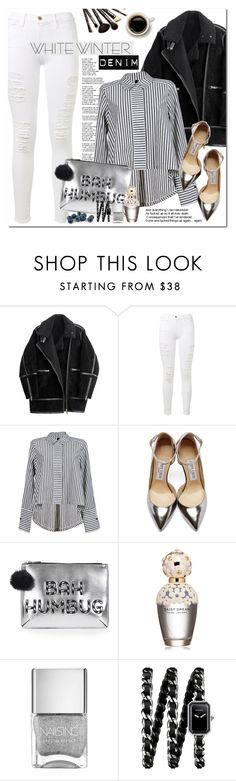 """""""White Winter Denim"""" by oshint ❤ liked on Polyvore featuring H&M, Frame Denim, Jimmy Choo, Topshop, Marc Jacobs, Chanel and Borghese"""