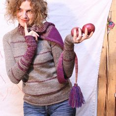 Rasperry Oatmeal  S/M tassel scarf tunic thumb by WrapturebyInese, $150.00  Multi functional, versatile, convertible...its a scarf, a hoodie, a cowl, a wrap, wrist warmers all in one sweater, what more do you need?