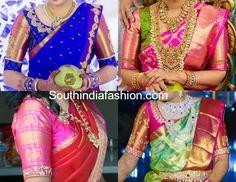 Elbow Length Sleeves Blouse Designs for Kanjeevaram Sarees – South India Fashion Wedding Saree Blouse Designs, Pattu Saree Blouse Designs, Blouse Designs Silk, Designer Blouse Patterns, Simple Blouse Designs, Blouse Back Neck Designs, Neckline Designs, Silk Sarees, Indian Sarees