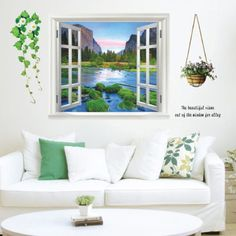 $8.87  - ToprateTM Window View The Beautiful Views Out of the Window for Alley Mountain and River DIY Removable Wall Decal for Living Room Bedroom Vinyl Wall Sticker Art Home Decoration -- Be sure to check out this awesome product. (This is an affiliate link) #WallStickersMurals