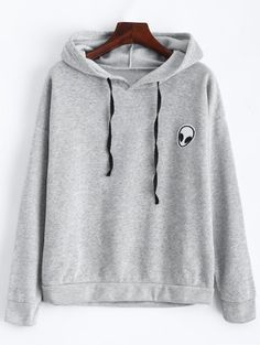 SHARE & Get it FREE | Drawstring Alien Patch Hoodie - GrayFor Fashion Lovers only:80,000+ Items • New Arrivals Daily Join Zaful: Get YOUR $50 NOW!