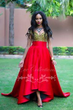 African Red High Low Prom Dresses 2015 Plus Sizes Unique Ankara Dress Tanzanian Ghana Women Evening Gowns Vestidos de Festa
