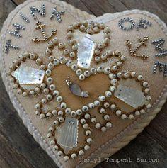 Sailor's Valentine Handmade Heart Pincushion created by Cheryl Tempest Burton.