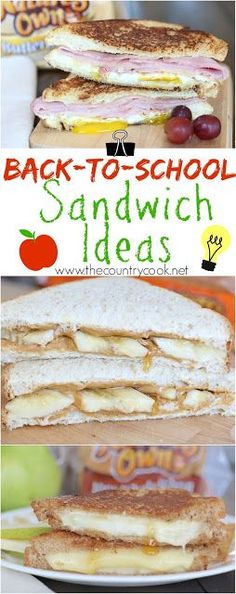Back-To-School Sandwich Idea recipes from The Country Cook! Sunrise breakfast sandwich, PB&B (with a special ingredient) and the Pear and cheese sandwich is SO good. Plus, learn the surprising trick to make the perfect grilled cheese sandwich! Not just for kids!! #LunchBoxCreations #NaturesOwn #sponsored #healthy #recipe #bread #eggs
