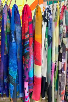 Artist designed large luxury silk scarves, rolled edge finish with a dimension of 70x200. The oblong shape instead of the usual square makes them easy to wear, modern & practical. They are bright, colourful & eye-catching. My scarves are timeless statement pieces in line with sustainable fashion, they are season-less and collectable editions of my art practice. Irish Design, Scarf Design, Silk Crepe, Cashmere Scarf, Silk Scarves, Wearable Art, Sustainable Fashion, Vibrant Colors, Kimono Top