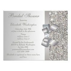 printed silver sequins bow diamond bridal shower invitation