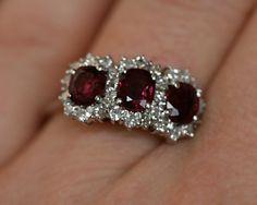 Ruby & Diamond Triple Cluster Ring.