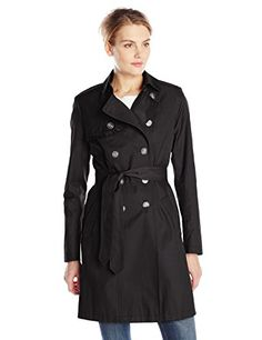 T Tahari Women's Heather Double Breasted Trench Coat with Ruffle Trim, Black, Small * Click image for more details.