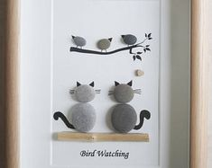 Pebble Art framed Picture- Bird Watching