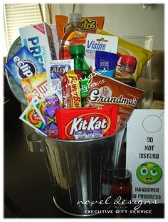 A trash can full of hangover remedies.  Makes a great 21st birthday, bachelor, bachelorette & New Years gift! Check out all our hangover gift baskets at www.noveldesignsllc.com