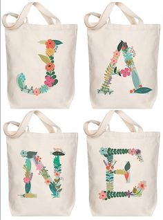 So cute for gifts, bridesmaids, ballet bags and mo… Floral Monogram Canvas Totes! So cute for gifts, bridesmaids, ballet bags and more! Painted Canvas Bags, Canvas Tote Bags, Canvas Totes, Diy Canvas, Cute Tote Bags, Diy Tote Bag, Ballet Bag, Fabric Bags, Monogram Canvas