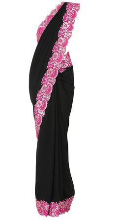 Pink. Black. #indianoutfit #sari