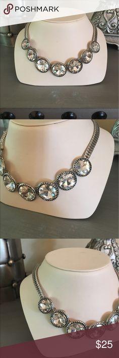 🛍 Versona Silver Diamond Statement Necklace Silver tone.  Simulated stones. Versona Jewelry Necklaces
