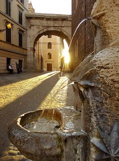 """Evening light on a Roman drinking fountain, Rome, Italy by Beardy Vulcan on Flickr. """"This Little Fountain in the Via di San Vito is one of a number of fountains designed by the architect P. Lombardi in 1927. The only criterium was that the fountains in some way had to refer to a characteristic of the neighborhood in question."""""""