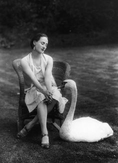 Russian ballerina Anna Pavlova, famous for her role as a swan in The Dying Swan, is here shown at her London home, Ivy Lodge in Hampstead, in 1927