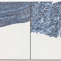 Marjorie Welish, Before After Oaths Gray 4, 2013, acrylic on panel (diptych), 20 x 32 inches. ©MARJORIE WELISH/COURTESY ART 3 GALLERY