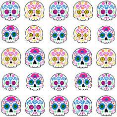 Sugar Skull Nails, Sugar Skull Art, Sugar Skulls, Bottle Cap Images, Dream Nails, Nail Decals, Mexican Folk Art, Nails Inspiration, Pretty Nails