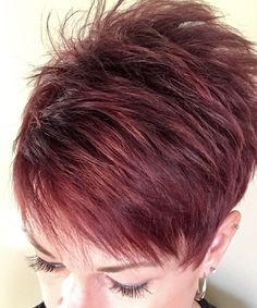 Short hair red hairstyles in 2019 short red hair, funky short. Burgandy Short Hair, Baylage Short Hair, Funky Short Hair, Super Short Hair, Edgy Hair, Short Hair Cuts, Short Hair Styles, Short Sassy Haircuts, Cute Hairstyles For Short Hair
