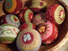 Hand embroidered Christmas ornaments....simple beautiful by betty