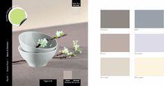 couleur-decoration-salle-a-manger-nuance-de-gris-clair-couleur-contraste-vert-anis - Decoration maison, Idees deco interieur, astuces et peinture
