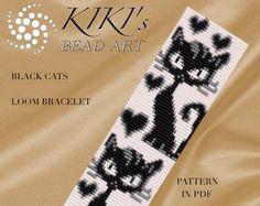 Bead loom pattern - Black cats LOOM bracelet pattern in PDF - instant download