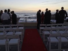 Wedding ceremony at Cliff House Restaurant in San Francisco Cliff House Restaurant, San Francisco Restaurants, Wedding Ceremony, Terrace, Sidewalk Cafe, Patio, Terraces, Decks, Outdoor Cafe