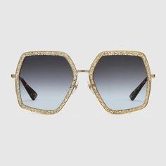 aba06f144396 Oversize square-frame metal sunglasses