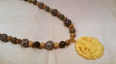 Buddha Pendant with Carved Jade Gemstones by SpringHammock on Etsy
