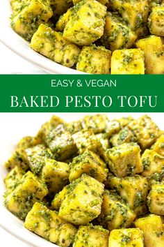 Basil pesto is tossed with tofu that has been seasoned and roasted with simple spices for a savory dish that is practically effortless. Tofu Dishes, Savoury Dishes, Vegan Dishes, Whole Foods, Whole Food Recipes, Vegan Recipes Easy, Cooking Recipes, Vegetarian Recipes Tofu, Recipes With Tofu Healthy