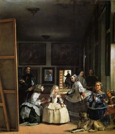 """Las Meninas"" by Diego Velázquez, c. Velázquez was the leading artist of the Spanish Golden Age. The painting is on display at the Museo del Prado. Note: the man on the left side of the painting is the artist himself Most Famous Paintings, Great Paintings, Dog Paintings, Famous Artists, Classic Paintings, Portrait Paintings, Portrait Art, Spanish Painters, Spanish Artists"
