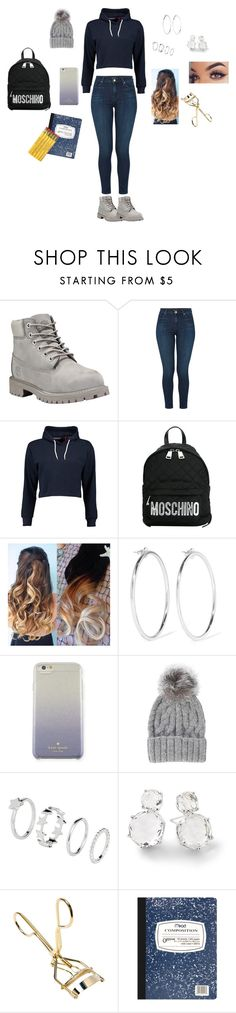 """""""Girl please."""" by delilahstutz ❤ liked on Polyvore featuring Timberland, J Brand, Boohoo, Moschino, Jennifer Fisher, Kate Spade, Eugenia Kim, Ippolita and Mead"""