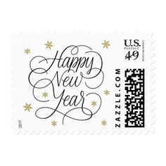 Gold Snowflakes   New Year's Eve Postage Stamp
