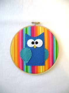 Fabric Wall Art - Jerry the Blue Owl. By Red Marionette shop.