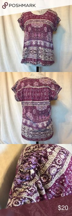 Lucky Brand Printed Top Cute top!!  Size medium. 60% cotton and 40% modal. Lucky Brand Tops
