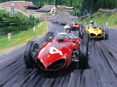 Belgian GP 1961 Spa. Phil Hill leads Gendebien and von Trips.