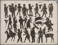 Men- Silhouette figures for use with Toy Theaters - c 1850-1880