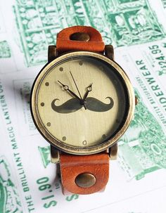 Moustache Watch, Retro Leather Watch, Mens Watch, Women Watches, Unisex Watch, ,  Boyfriend Watch, tan