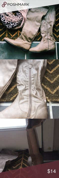 women's light brown knee high boots worn once, preloved, excellent condition, good to save for fall, flap on top could be folded down, I'm short and folded it down when I wore them. (scarf not for sale) Shoes Over the Knee Boots