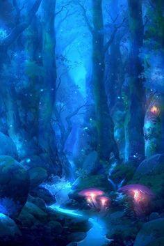 Fantasy Art Landscapes, Fantasy Artwork, Landscape Art, Fantasy Places, Fantasy World, Art And Illustration, Fantasy Background, Night Background, Fantasy Kunst