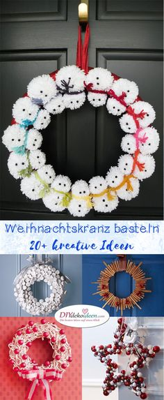 Weihnachtskranz basteln - 20+ Ideen zum selbermachen - Weihnachten 2017 - kreative Bastelideen für Weihnachten