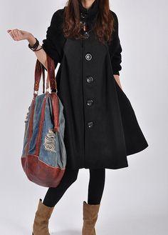 Black Wool coat woolen dress wool Jacket Parkas by Beautygirl02, $60.00