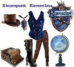 ravenclaw or change the vest colour to any of the houses for the one you want ~~ not a fan of steam punk, not even a big fan of Harry Potter but this outfit is very cool Super Hero shirts, Gadgets Harry Potter Mode, Theme Harry Potter, Harry Potter Style, Harry Potter Outfits, Steampunk Cosplay, Steampunk Clothing, Steampunk Fashion, Ravenclaw, Themed Outfits