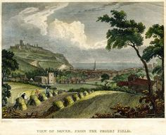 The Maison Dieu seen from Priory Field, looking out to sea - old print c.1800