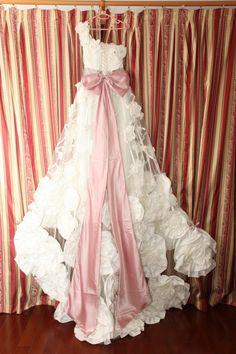 A-line one shoulder Chapel Train taffeta Wedding Dress with flower and detachable bow