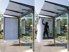 Un arrêt de bus, normalement c'est moche. Un gros truc en plastique sur lequel est assis un petit vieux qui peste parce que les bus sont toujours à l'heure et que du temps du Maréchal, c'était autre c